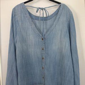 Super cute denim blouse with cute bell sleeves